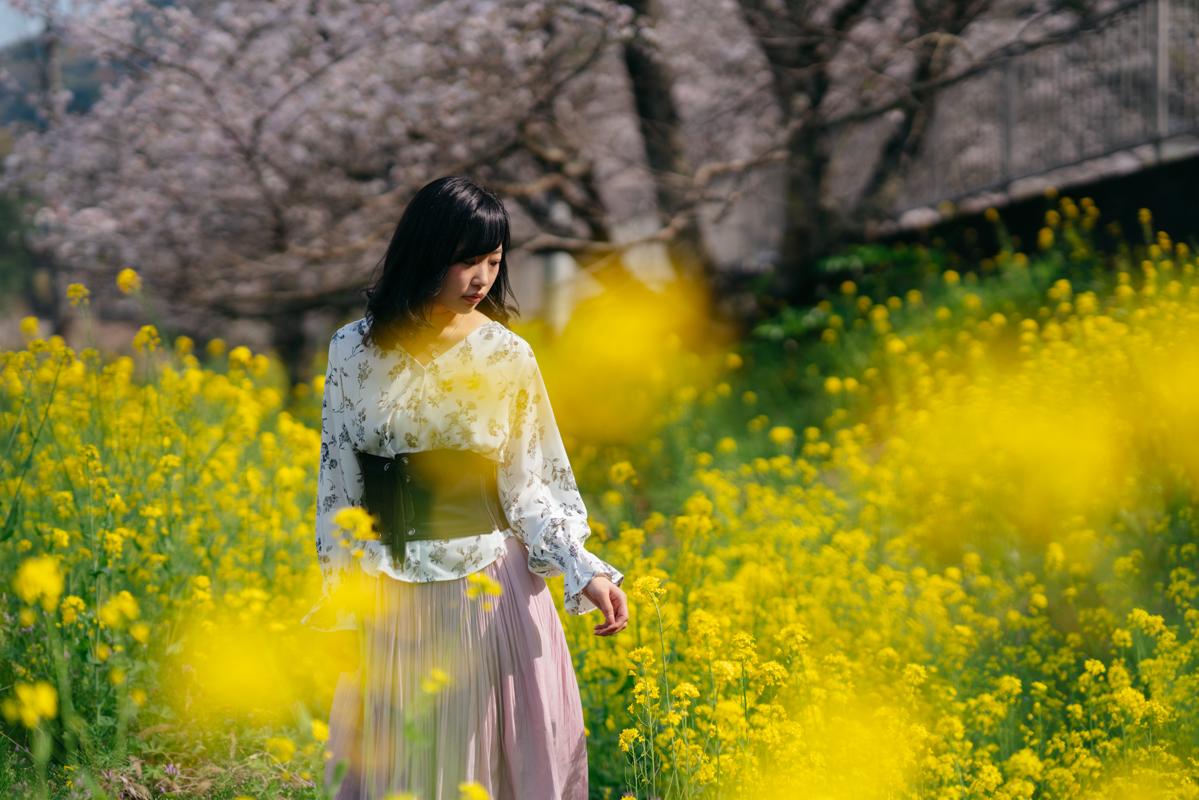 桜 菜の花 ポートレート